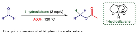One-pot conversion of aldehydes into acetic esters
