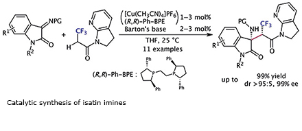 Catalytic synthesis of isatin imines