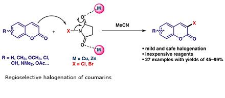 Regioselective halogenation of coumarins