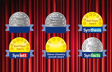 Thieme Chemistry Prizes and Awards | Thieme-IUPAC Prize - Women in Chemistry Award - Thieme Journal Awards - Best Paper Award - SYNFACTS Poster Prizes