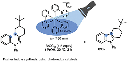 Fischer indole synthesis using photoredox catalysis