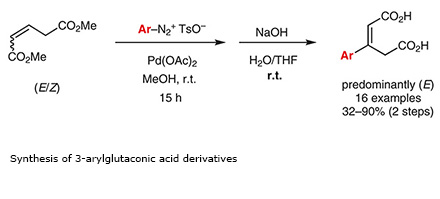 Synthesis of 3-arylglutaconic acid derivatives