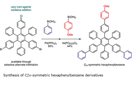 Synthesis of C2v-symmetric hexaphenylbenzene derivatives