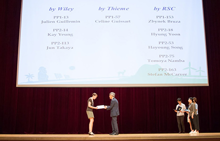 Céline Guissart was awarded a poster prize at the OMCOS19 and receives a one-year subscription to SYNFACTS. Congratulations!
